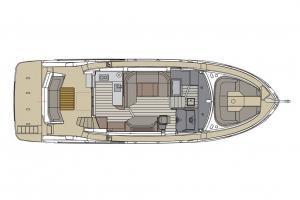 Schemat jachtu Absolute 47 Fly, górny pokład | Charter.pl foto: www.yachting2000.at