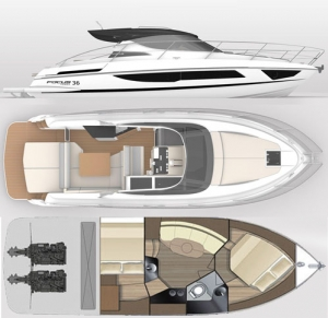 Schemat jachtu Focus Power 36 | Charter.pl foto: www.beta-charter.com