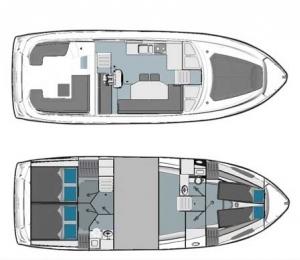 Schemat jachtu Bavaria E40 Fly | Charter.pl foto: www.yacht-charter-center.de