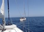 """mijamy s/y """"Opal"""" z kapitanem Pejganem na pokładzie foto: Kasia"""